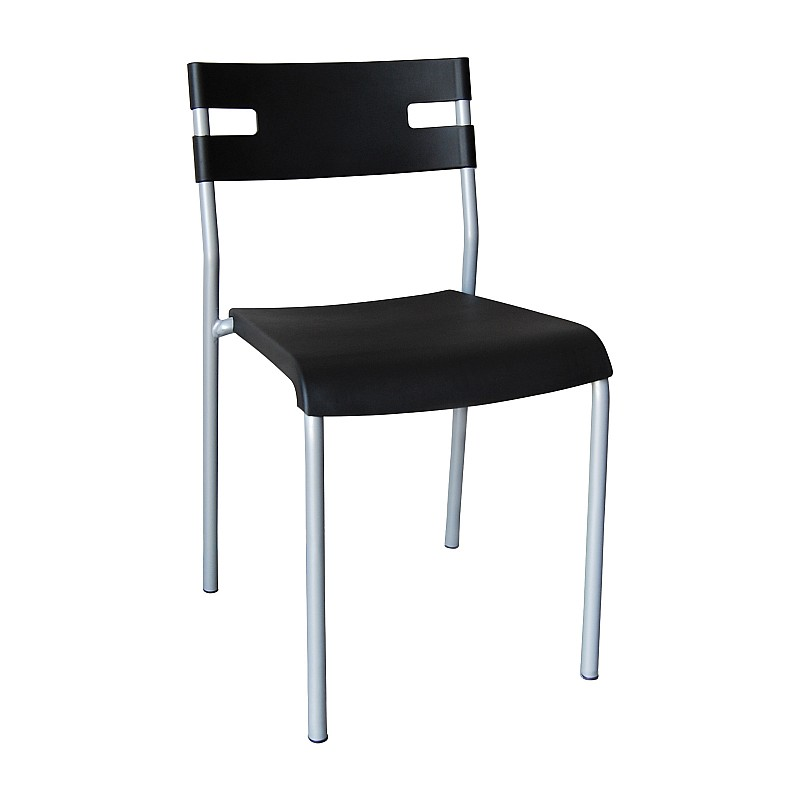 SWIFT Καρέκλα Στοιβαζόμενη Mέταλλο Βαφή Silver / PP Μαύρο
