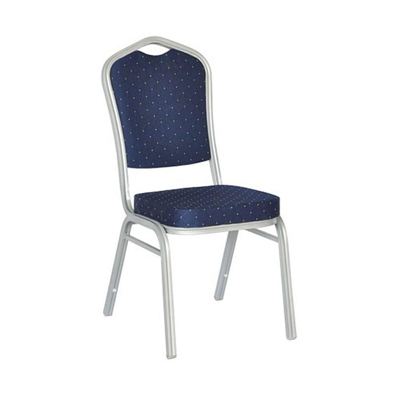 HILTON Καρέκλα Μεταλλική Silver/Ύφασμα Μπλε