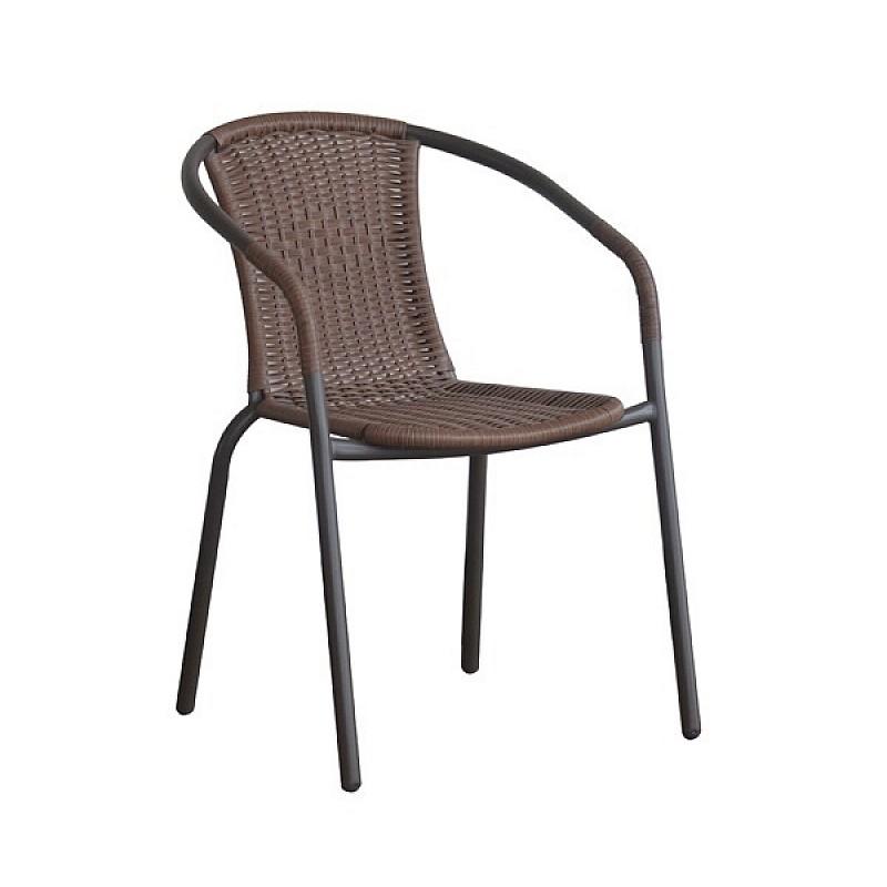 BALENO Πολυθρόνα Μέταλλο Βαφή Καφέ - Wicker Brown