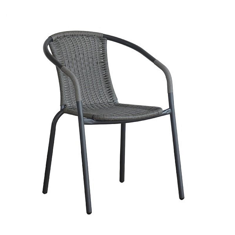 BALENO Πολυθρόνα Μέταλλο Βαφή Γκρι - Wicker Mixed Grey