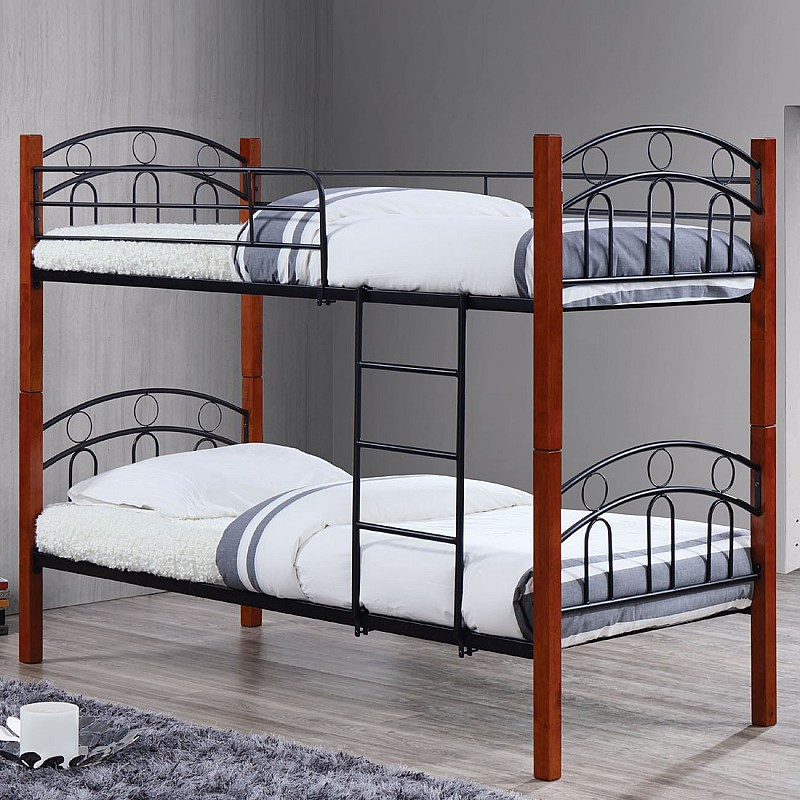 NORTON Κρεβάτι Κουκέτα Μέταλλο Βαφή Μαύρο / Ξύλο Καρυδί