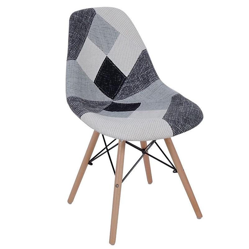 ART Wood Καρέκλα Ξύλο / PP Ύφασμα Patchwork Black & White