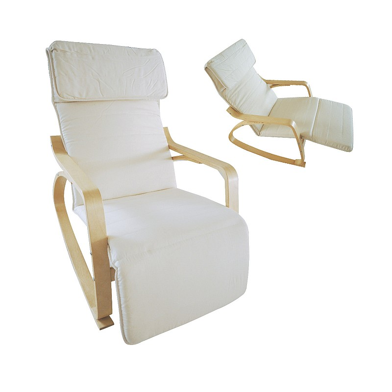 HAMILTON Super Relax Πολυθρόνα Σαλονιού - Καθιστικού Σημύδα / Ύφασμα Άσπρο