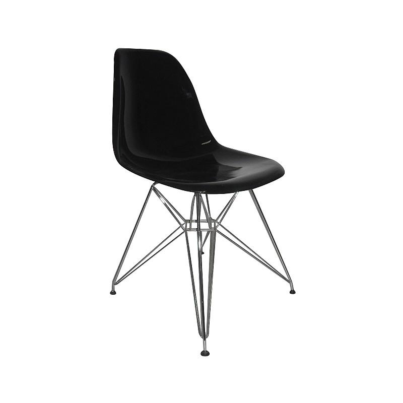 ART Καρέκλα Tραπεζαρίας Κουζίνας Μέταλλο Χρώμιο - PP Μαύρο
