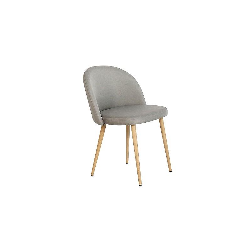 BELLA Καρέκλα Τραπεζαρίας Κουζίνας - Μέταλλο Βαφή Φυσικό Ύφασμα Sand Grey