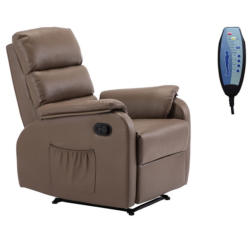 COMFORT Massage Πολυθρόνα Relax Σαλονιού - Καθιστικού / PU Cappuccino