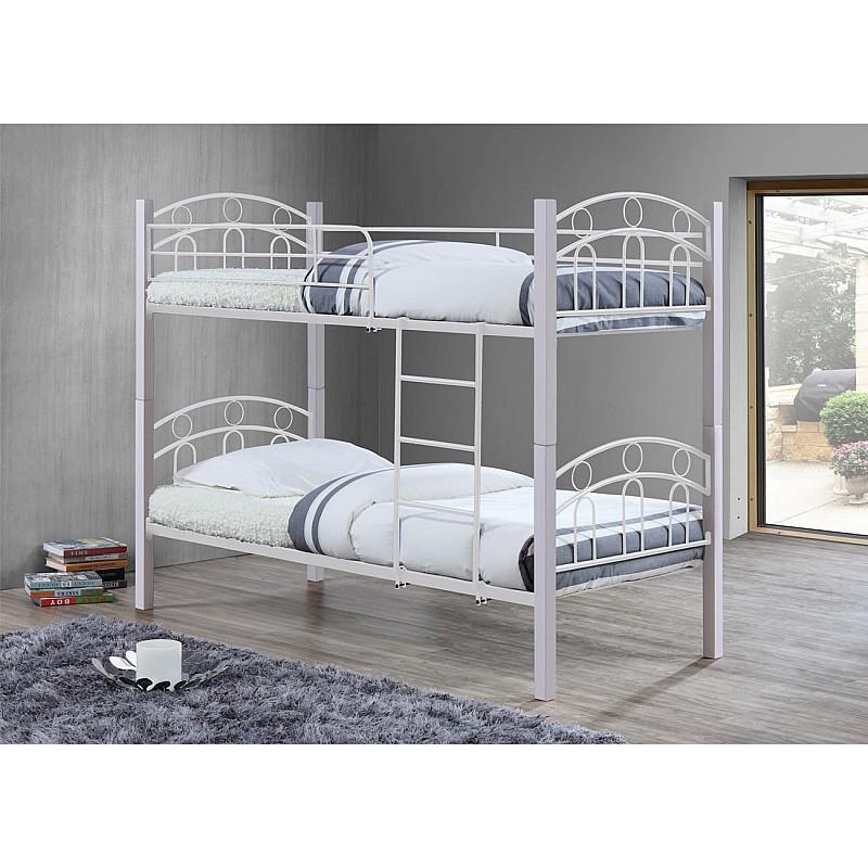 NORTON Κρεβάτι Κουκέτα Μέταλλο Βαφή Άσπρο / Ξύλο Άσπρο