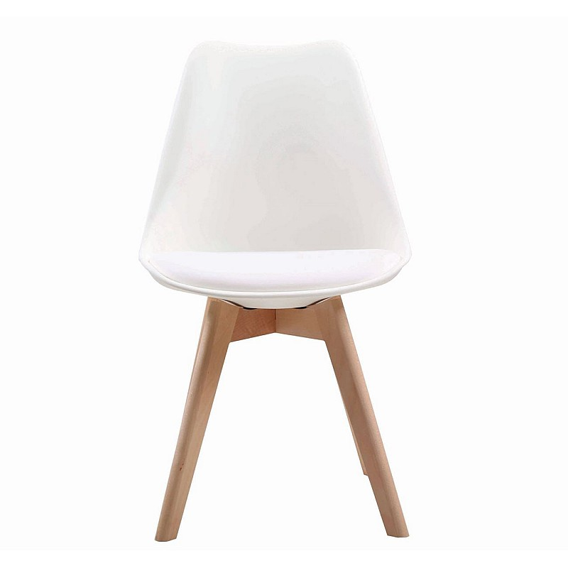 MARTIN Καρέκλα Ξύλο / PP Άσπρο - Μονταρισμένη Ταπετσαρία