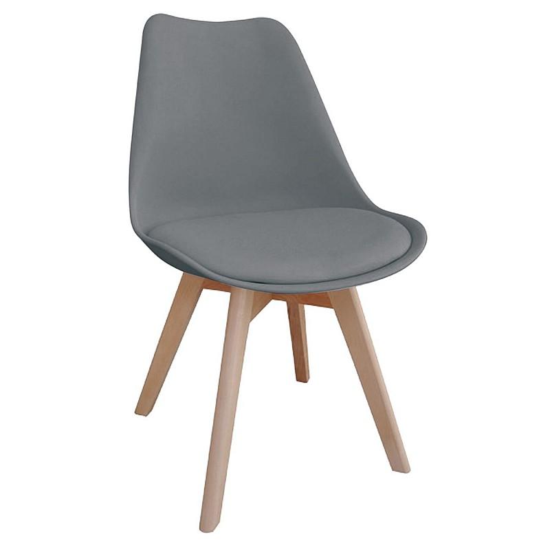 MARTIN Καρέκλα Ξύλο / PP Γκρι - Μονταρισμένη Ταπετσαρία