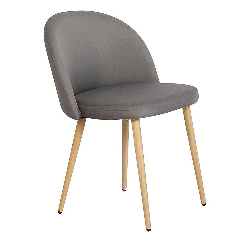 BELLA Καρέκλα Τραπεζαρίας Κουζίνας - Μέταλλο Βαφή Φυσικό Ύφασμα Σκούρο Γκρι