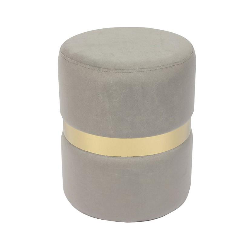 TOMMY Σκαμπώ Βοηθητικό Μέταλλο Βαφή Χρυσό / Ύφασμα Γκρι Velure