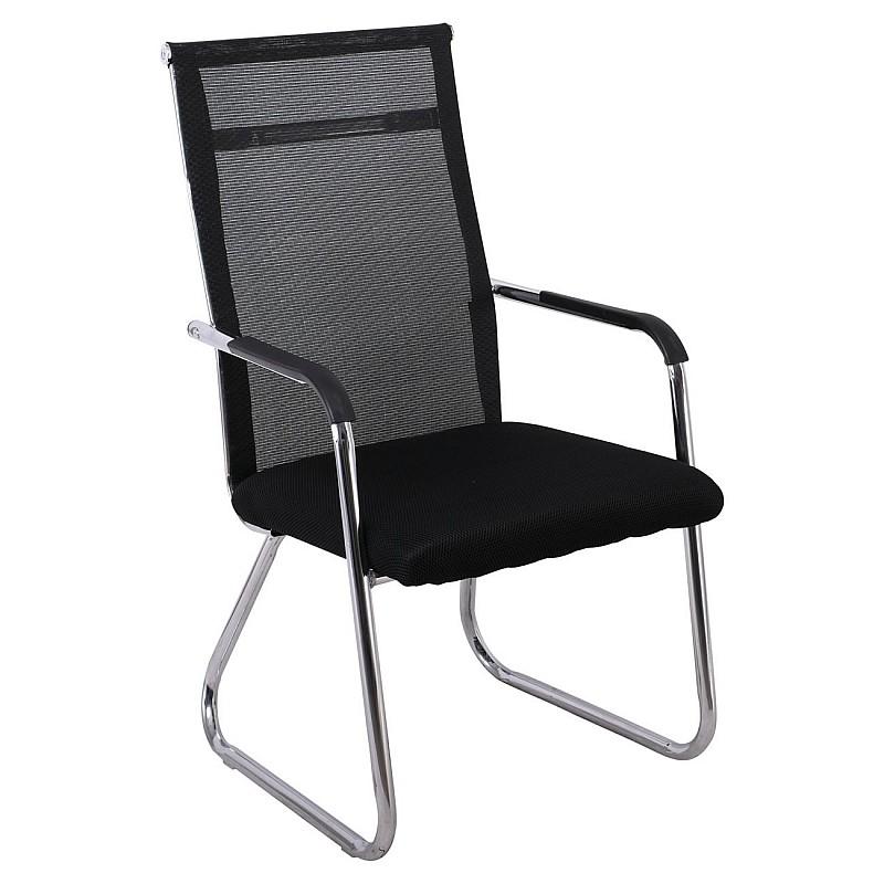 ALTA Πολυθρόνα Γραφείου Επισκέπτη Χρώμιο / Mesh Μαύρο