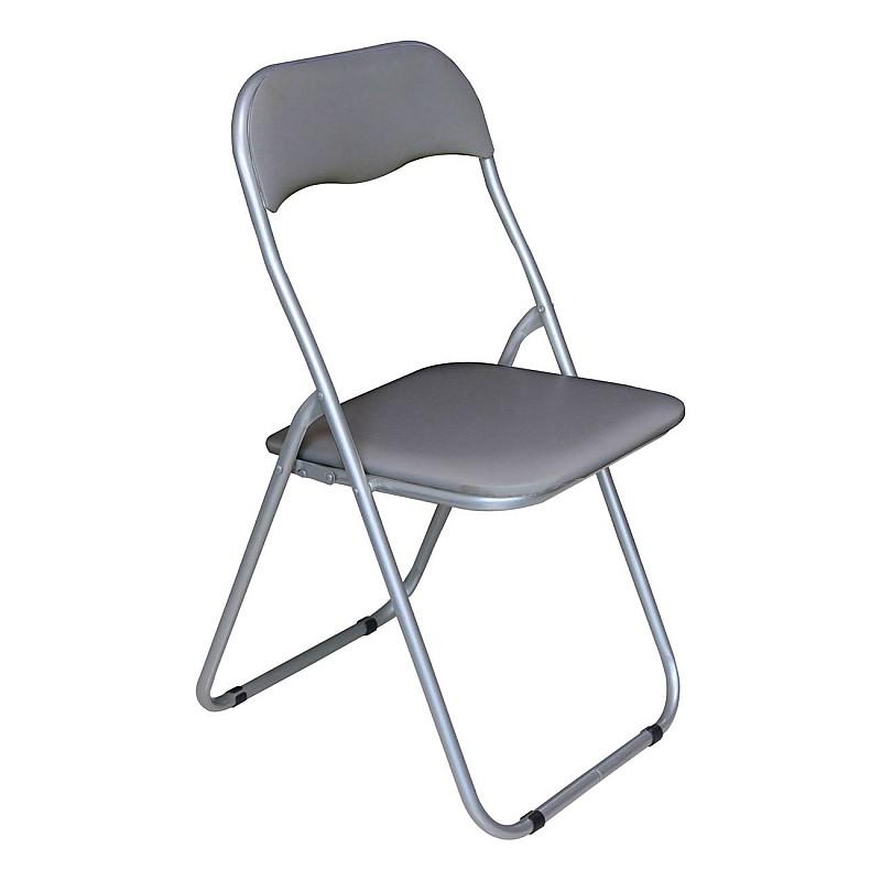 LINDA Καρέκλα Πτυσσόμενη Βαφή Γκρι/Pvc Γκρι