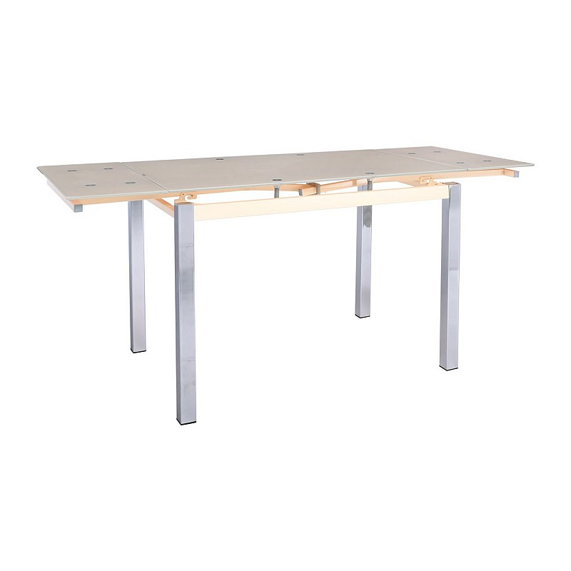 BLOSSOM Τραπέζι Τραπεζαρίας - Κουζίνας Επεκτεινόμενο / Steel Χρώμιο - Γυαλί Μπεζ