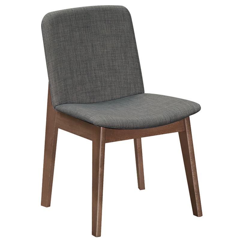 EMMA Καρέκλα Οξυά Καρυδί / Ύφασμα Γκρι