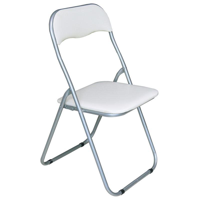 LINDA Καρέκλα Πτυσσόμενη Βαφή Γκρι/Pvc Άσπρο