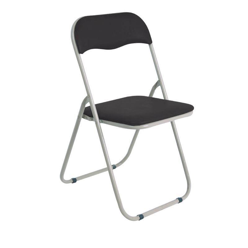 LINDA Καρέκλα Πτυσσόμενη Βαφή Γκρι/Pvc Μαύρο