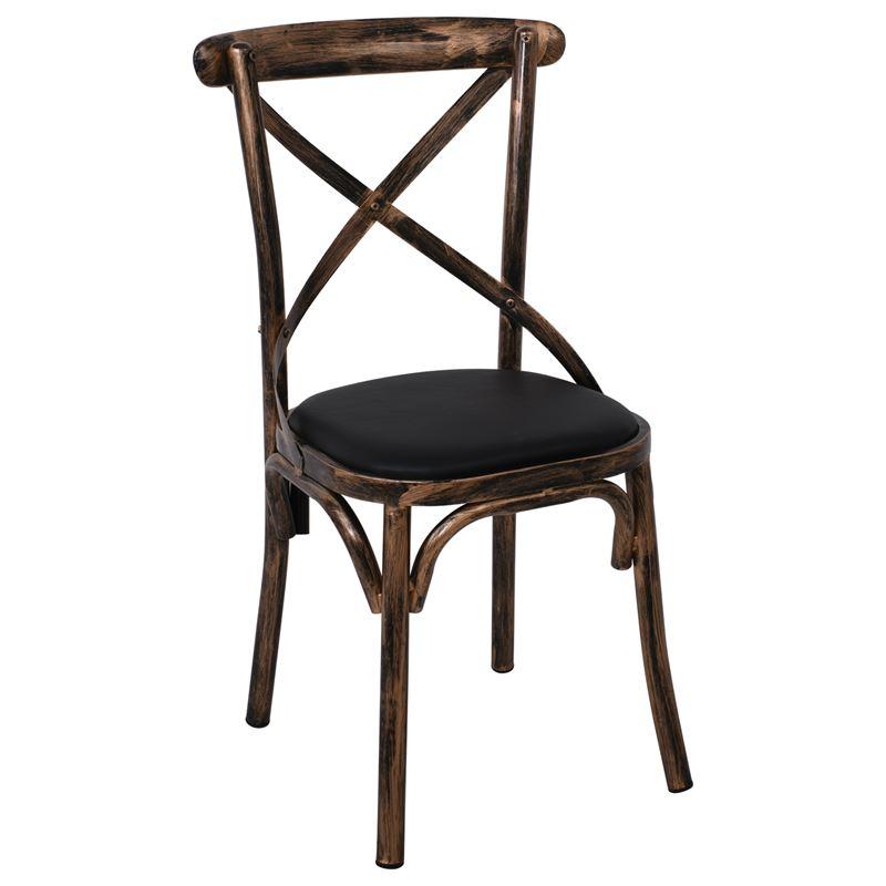 MARLIN Καρέκλα Μέταλλο Βαφή Black Gold / PU Μαύρο