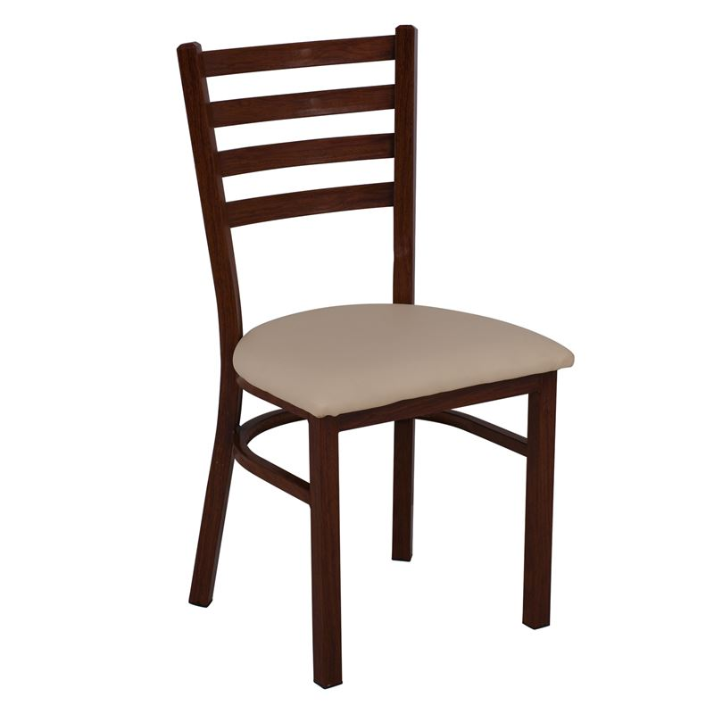 NATURALE Steel Καρέκλα Τραπεζαρίας - Κουζίνας / Μέταλλο Βαφή Καρυδί / PU Μπεζ