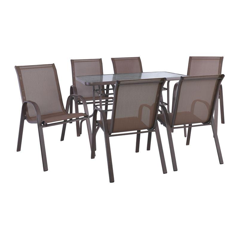 RIO Set Τραπεζαρία Βεράντας - Κήπου : Τραπέζι + 6 Πολυθρόνες Μέταλλο Καφέ - Textilene Καφέ