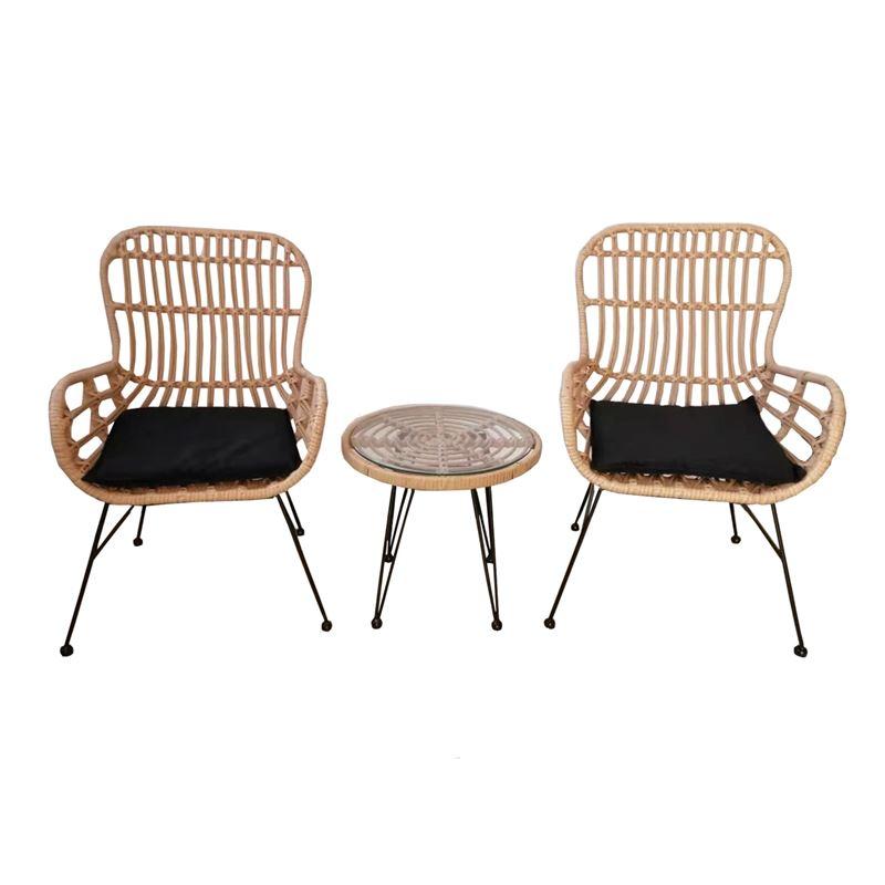 SALSA Duo Set Καθιστικό Κήπου Μέταλλο Μαύρο-Γυαλί-Wicker Φυσικό: Τραπεζάκι+2 Πολυθρόνες