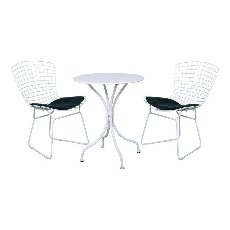 SAXON PARK Coffee Set Κήπου Steel Άσπρο-Μαξιλάρι Pu Μαύρο : Τραπέζι Φ60cm + 2 Καρέκλες
