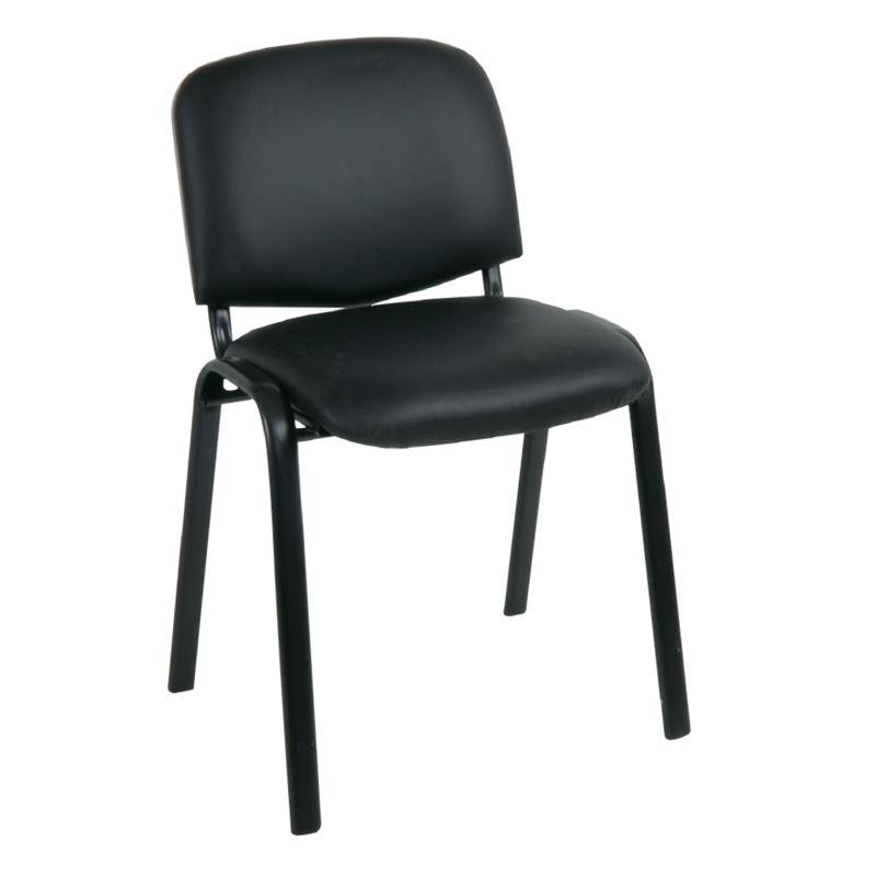 SIGMA Καρέκλα Στοιβαζόμενη Γραφείου - Επισκέπτη Μέταλλο Μαύρο / PVC Μαύρο