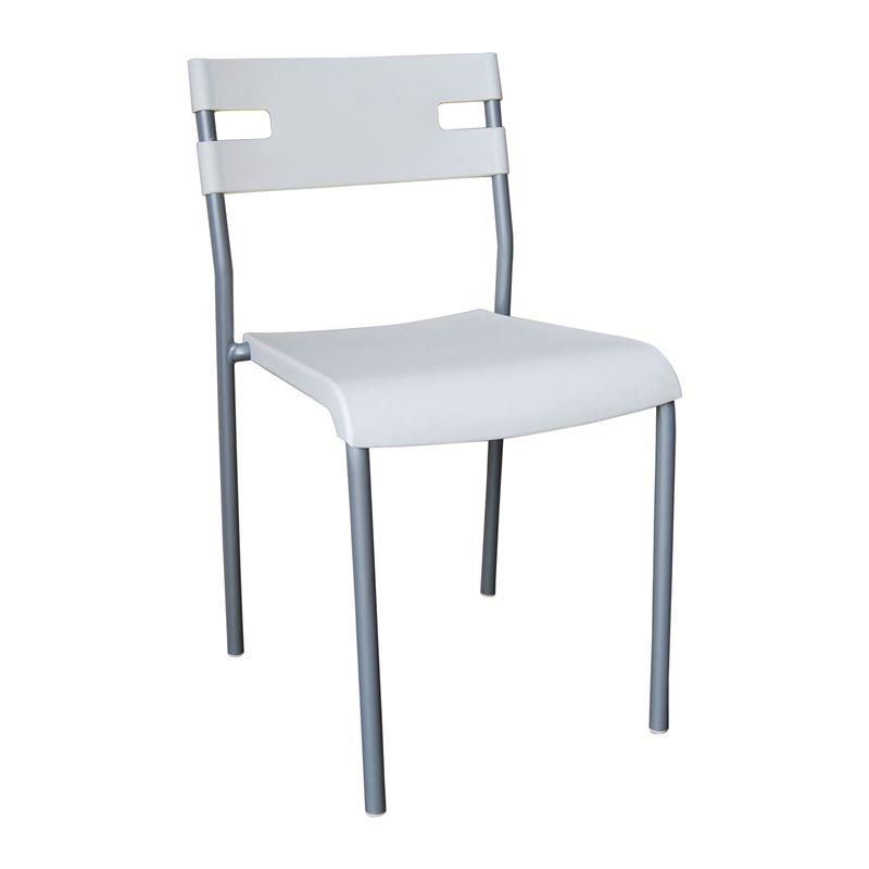 SWIFT Καρέκλα Στοιβαζόμενη Μέταλλο Βαφή Silver / PP Άσπρο